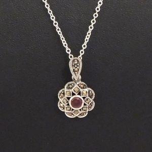 Jewelry - Marcasite & Zircon Garnet Silver Necklace N.W.T.
